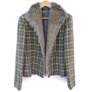 Geometric Pattern Faux Fur Trim Blazer Jacket
